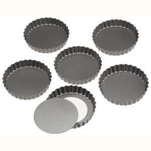 Wilton små runde tærte bageforme - Sæt med 6 stk. -11 cm - med disse små søde tærte bageforme kan du bage de sødeste små tærter