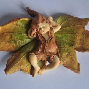 Fairy Baby Sleeping On Leaf